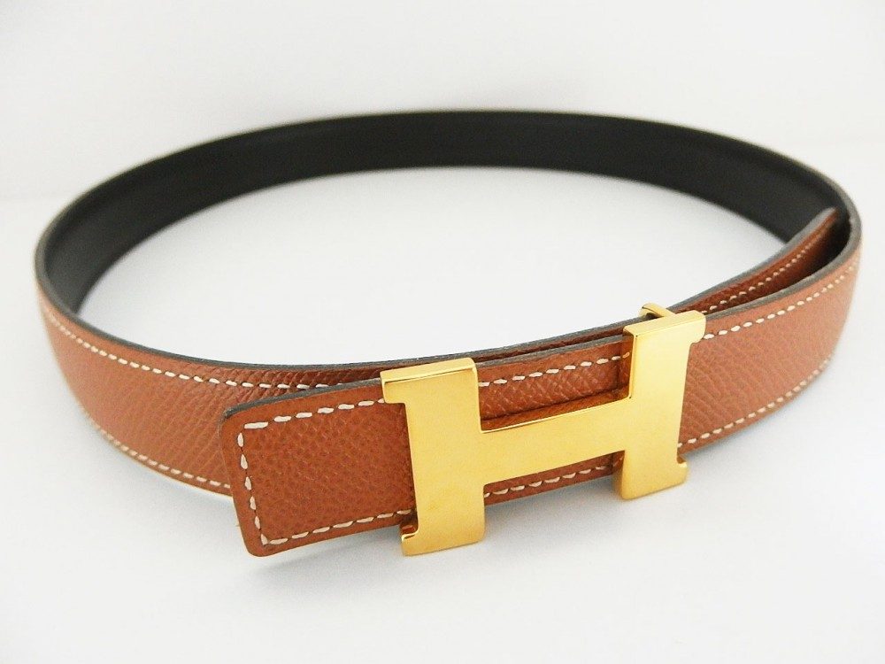 authentic hermes reversible belt leather brown black gold