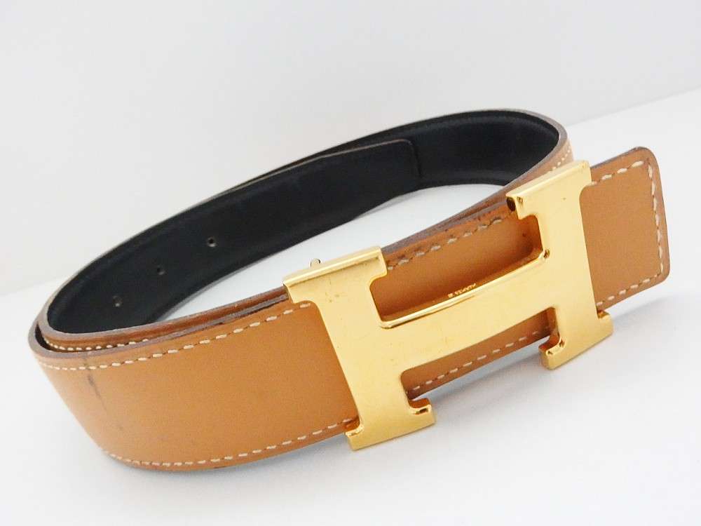 authentic hermes reversible constance belt leather brown