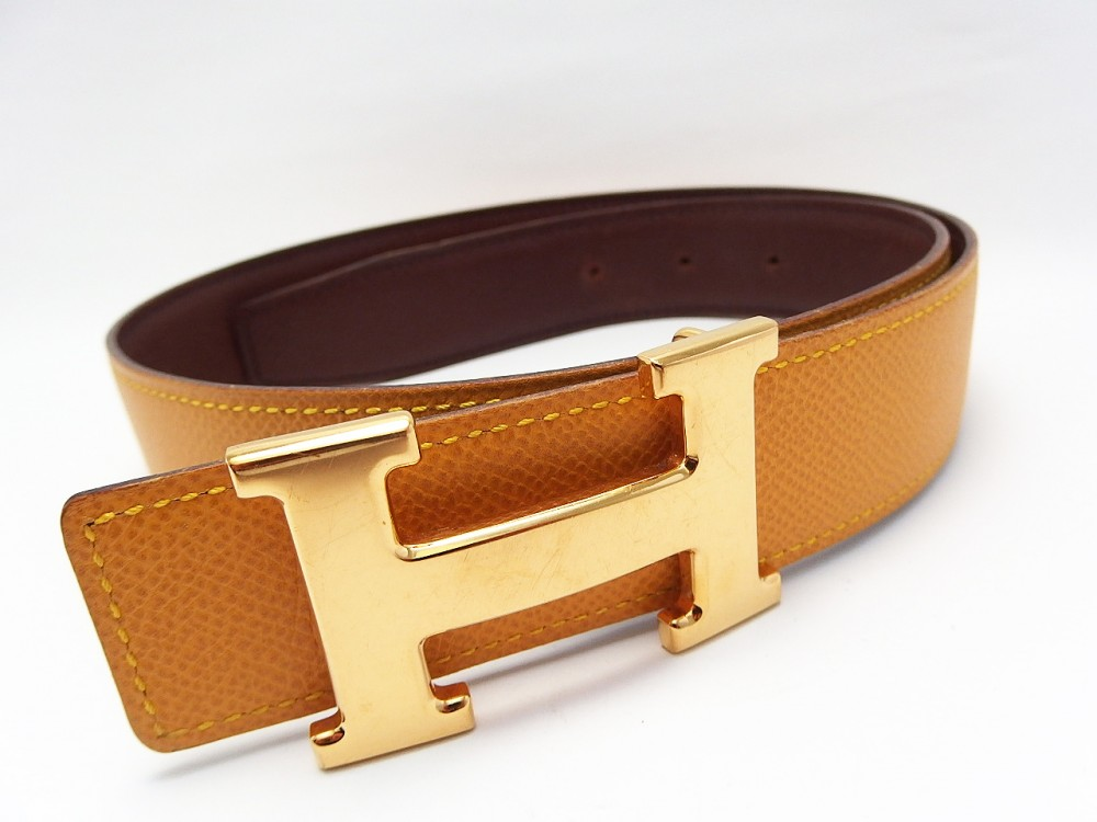 authentic hermes belt reversible constance leather yellow