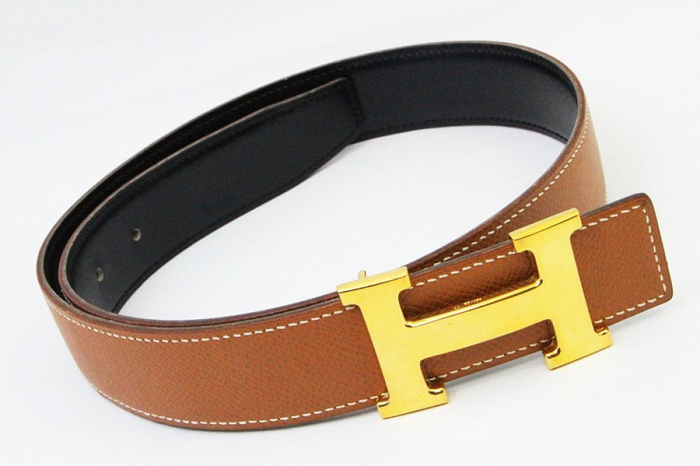 authentic hermes belt reversible leather constance brown
