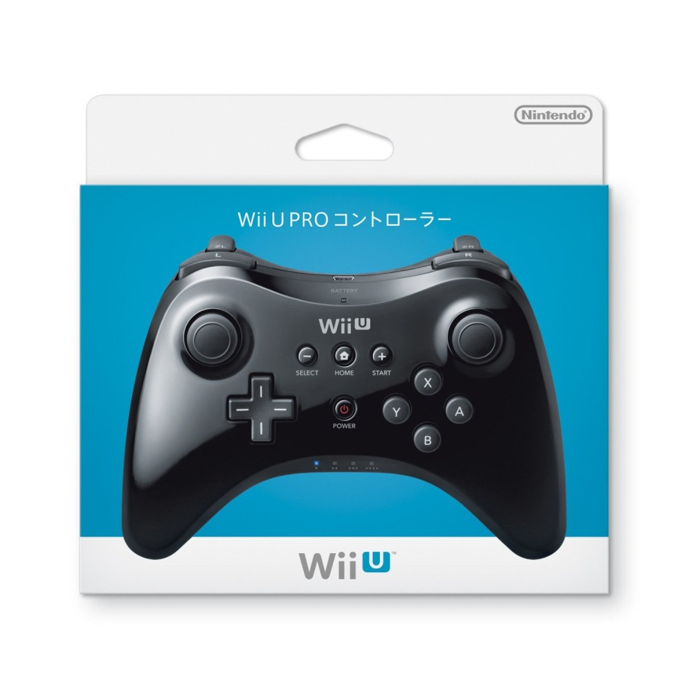 nintendo wii u pro controller wup a rska black 2 set japan. Black Bedroom Furniture Sets. Home Design Ideas
