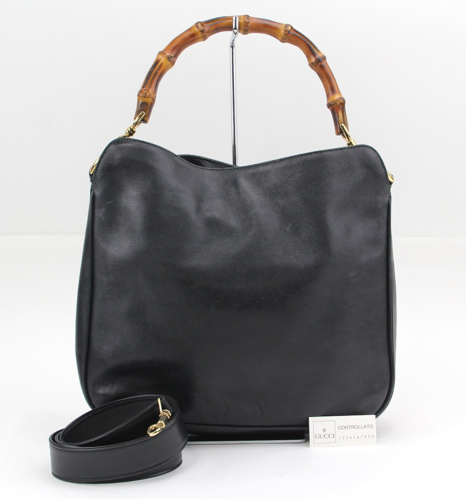 bf1a64cc5738 Authentic GUCCI Leather Black Bamboo Handle Shoulder Bag Handbag Purse 0532  | eBay