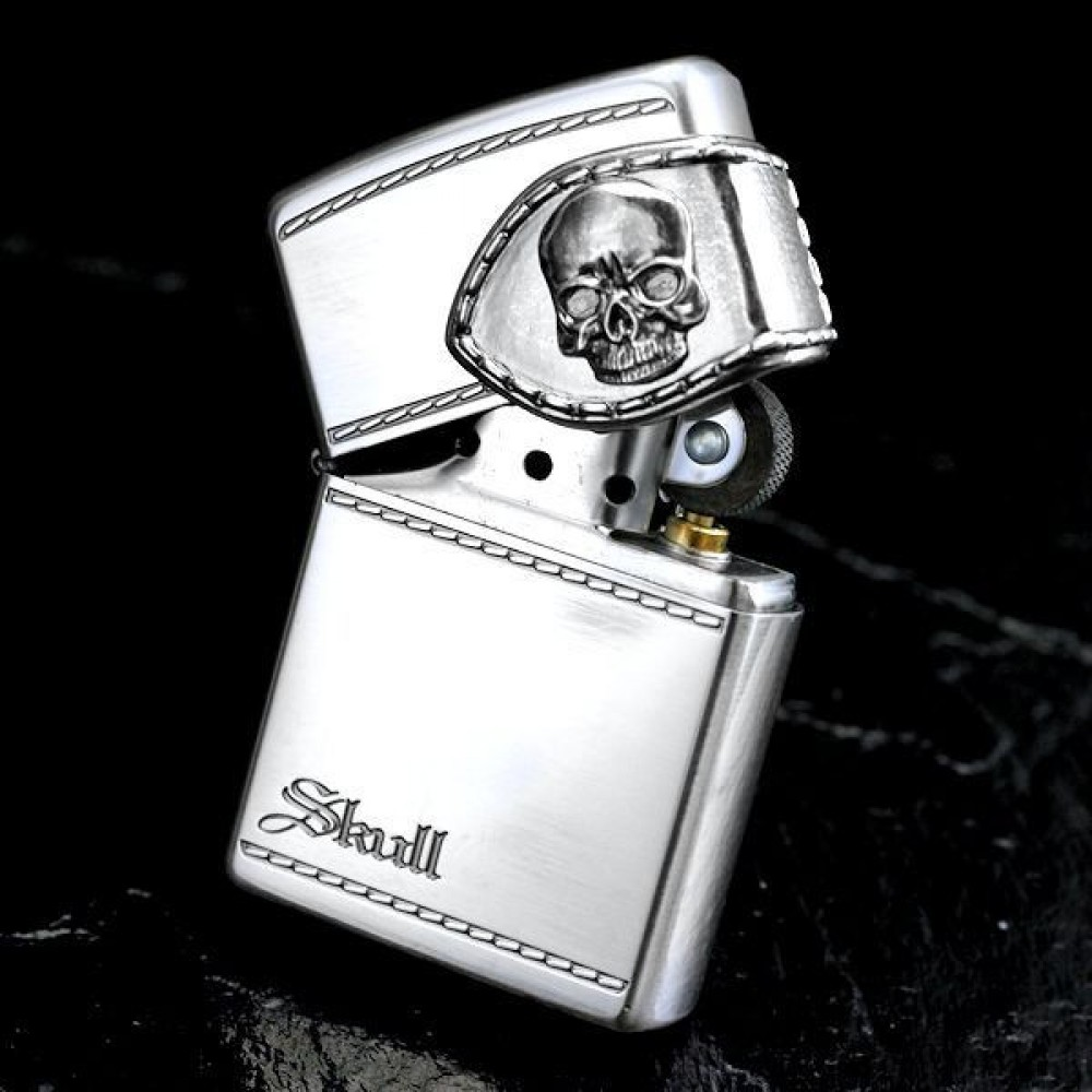 Zippo Lighter Wallet Design Skull Silver WLT-B Japan ModelZippo Lighter Skull Designs