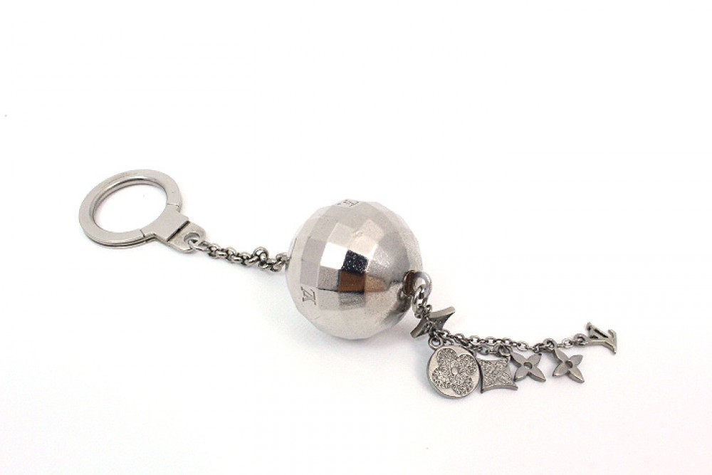 Authentic Louis Vuitton Key Chain Ring Silver Mirror Ball