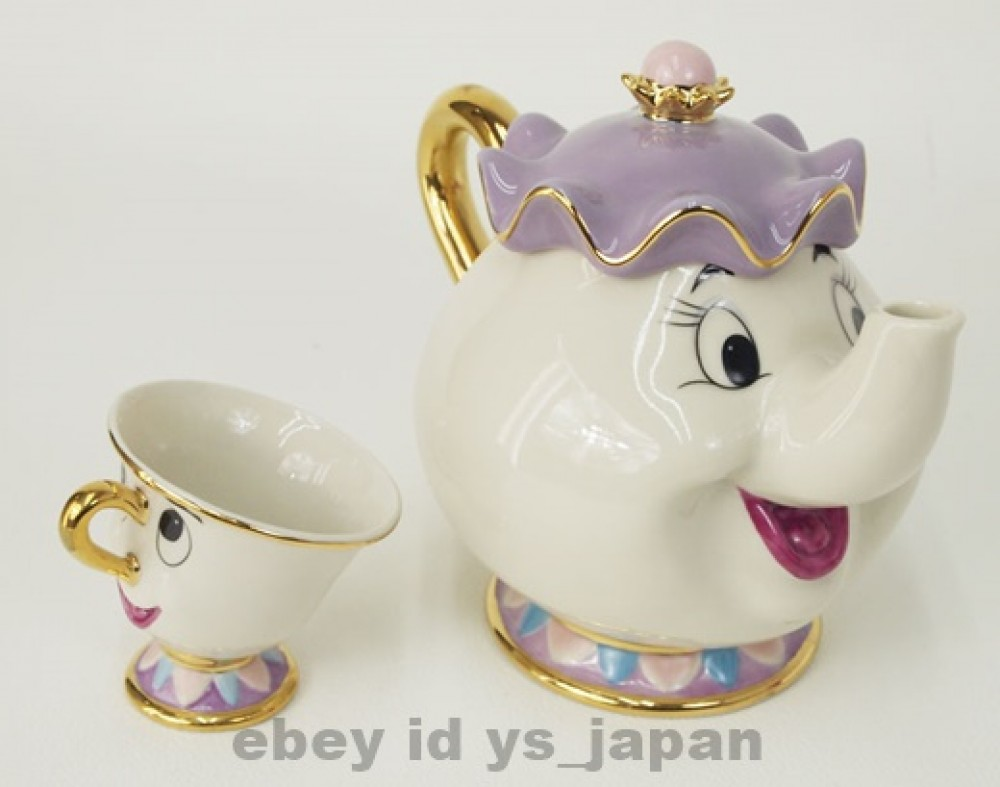 beauty and the beast teapot mug mrs potts chip tea pot and cup set disney japan ebay. Black Bedroom Furniture Sets. Home Design Ideas