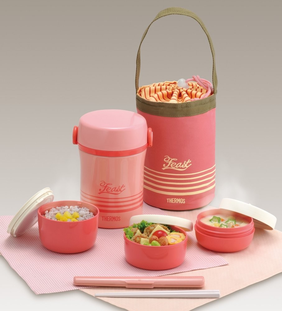 bento bako lunch box thermos stainless jar coral pink jbc. Black Bedroom Furniture Sets. Home Design Ideas