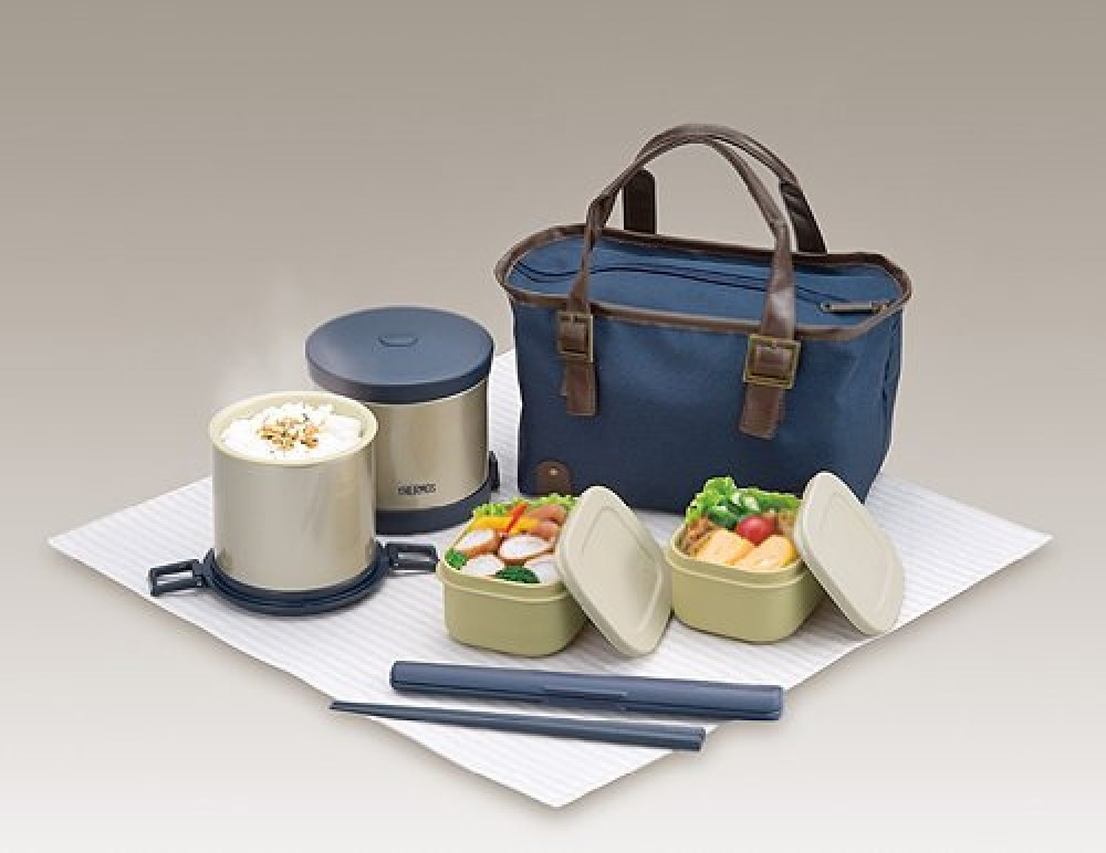 bento bako thermos heat insulation lunch box navy plastic stainless ebay. Black Bedroom Furniture Sets. Home Design Ideas