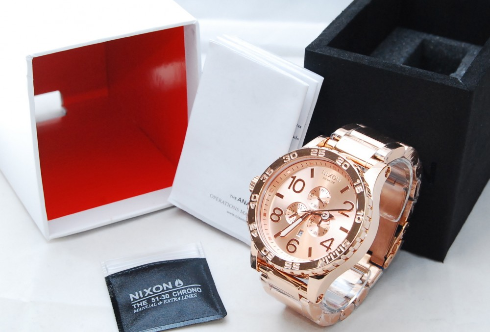 New Nixon Watch 51-30 Chrono All Rose Gold A083897 A083 ...