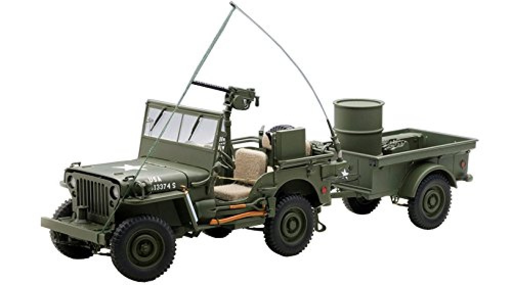autoart 1 18 jeep willys army green trailer accessories included cars. Black Bedroom Furniture Sets. Home Design Ideas