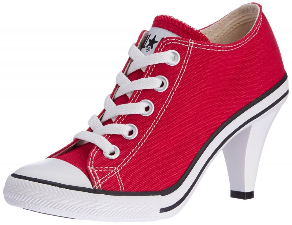 NEW ALL STAR CONVERSE RED Sneakers HIGH HEEL Stiletto ...