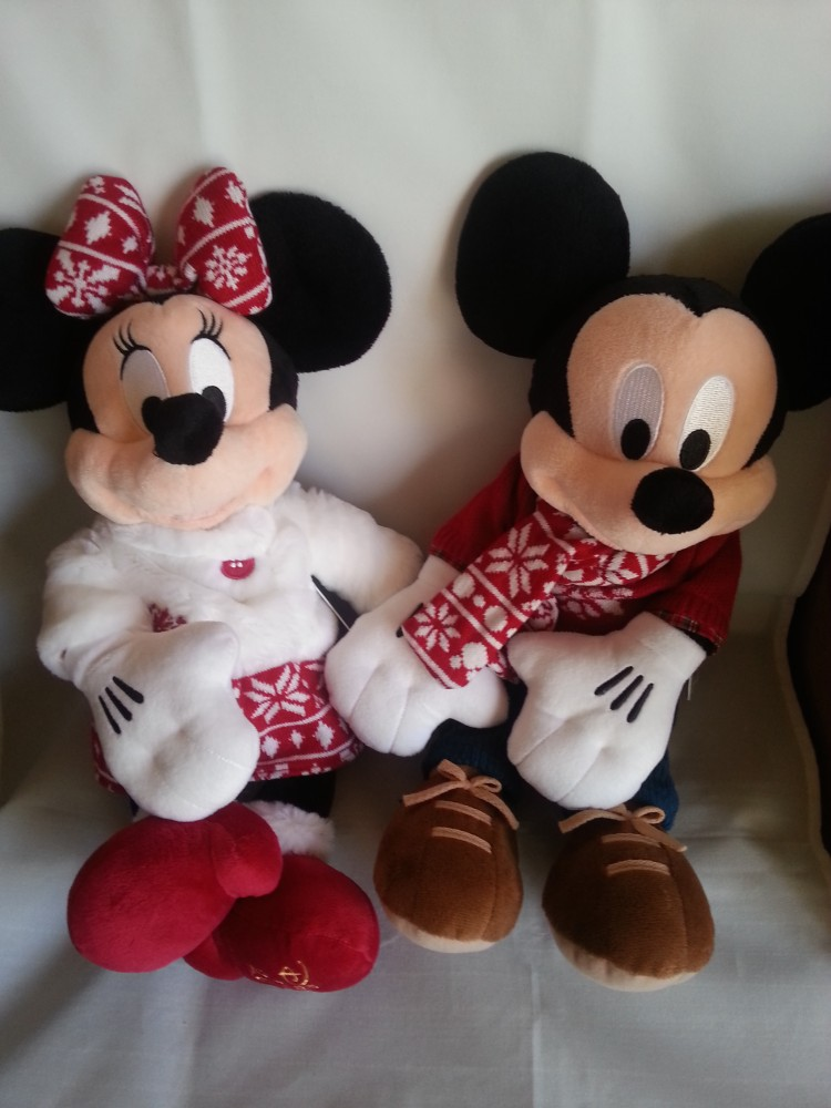 Disney store plush doll 2015 christmas mickey mouse minnie set japan limited - Minni et mickey ...