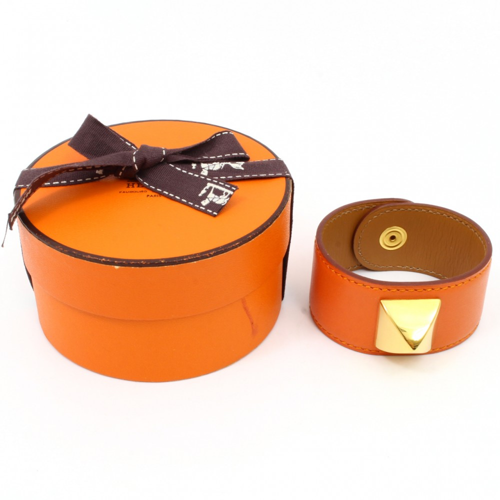 u3380s authentic hermes bracelet orange gold medor leather bangle box ebay. Black Bedroom Furniture Sets. Home Design Ideas