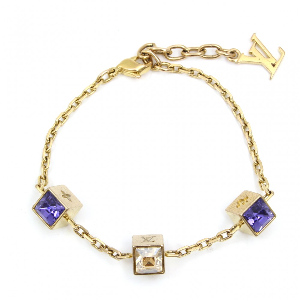 U3492 Authentic Louis Vuitton Bracelet Gamble Purple Stone Charm Gold Bangle Box Ebay