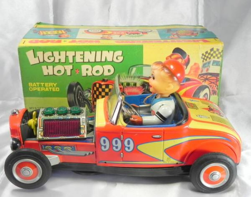Vintage Japan Tin Toys : Vintage tin toy car nomura lightening hot rod made in