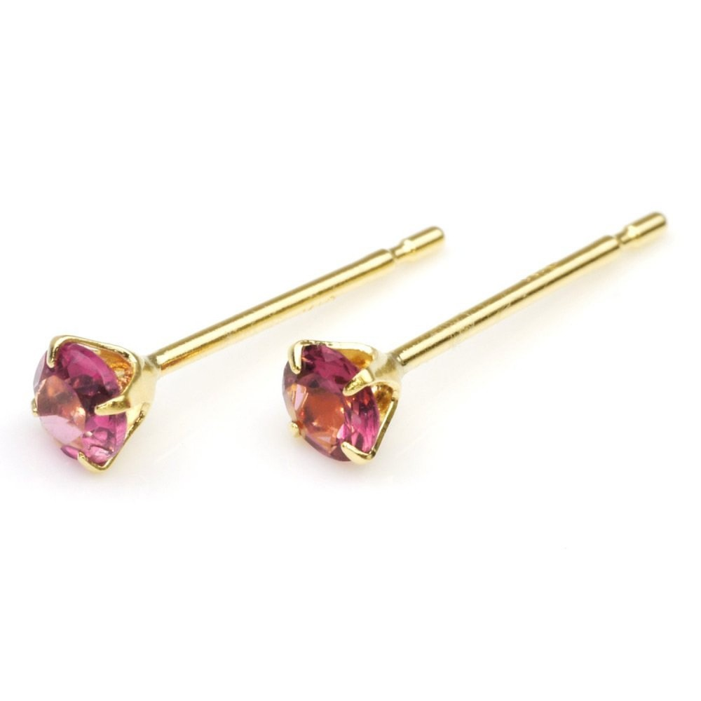 18k gold 0 2ct pink tourmaline stud earrings 4 claw type