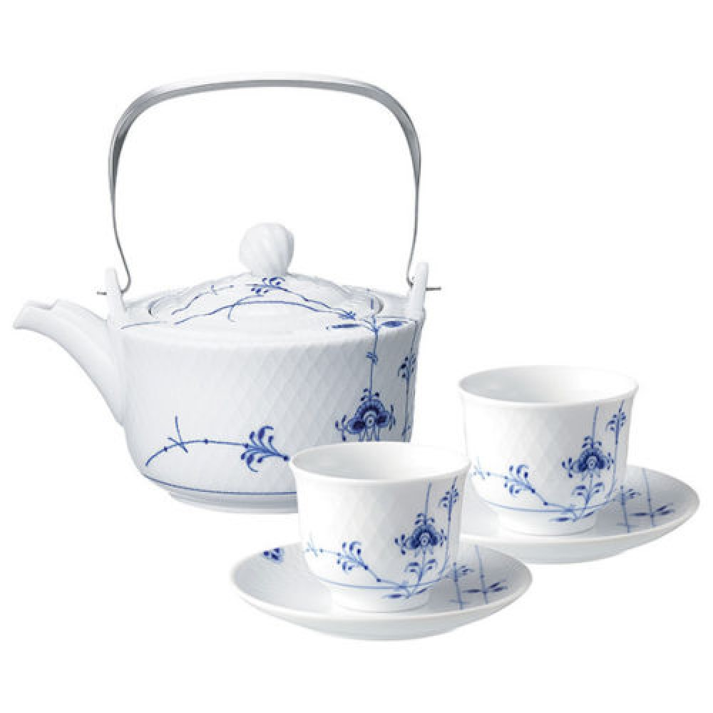 royal copenhagen blue palmette tea set teapot cup saucer f s asia version japan ebay. Black Bedroom Furniture Sets. Home Design Ideas