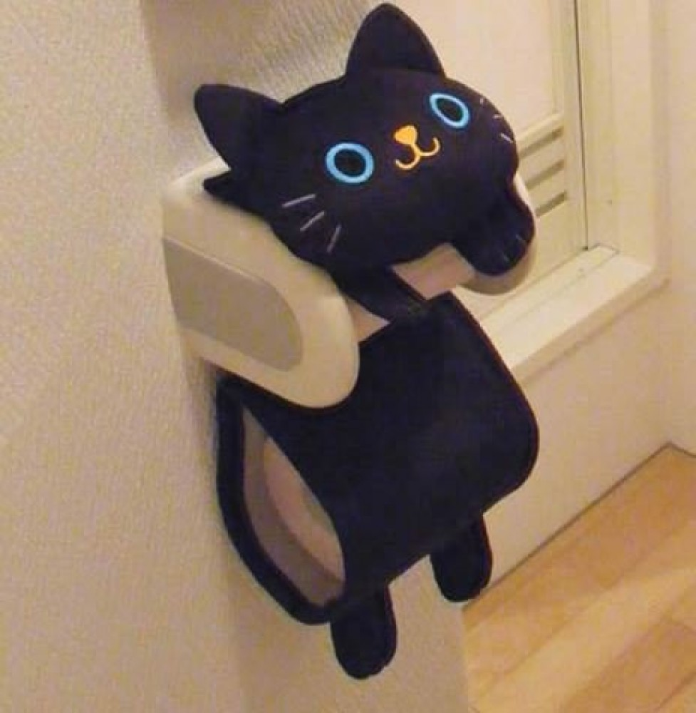 New Black Cat Toilet Paper Roll Storage Holder Cover Japan Free Shipping EBay