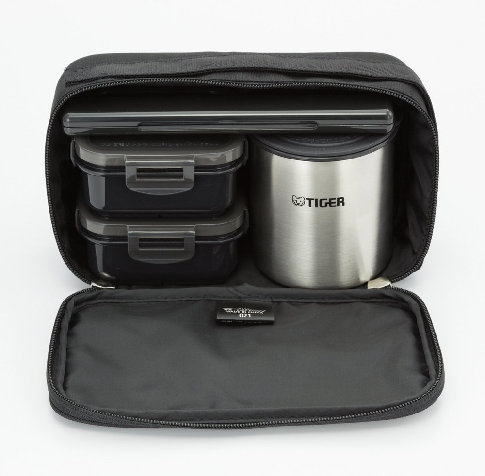 tiger stainless steel thermal lunch box jar bento set with bag black lwy r024 k ebay. Black Bedroom Furniture Sets. Home Design Ideas