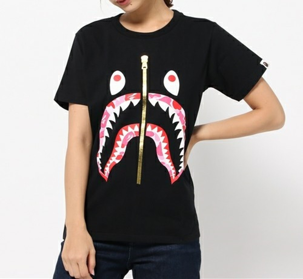 A Bathing Ape Abc Camo Shark Tee 4 Colors Women Bape
