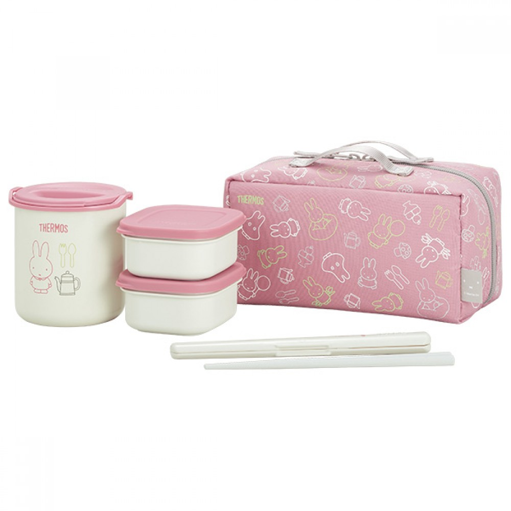 thermos miffy lunch food container bento box heat insulaton pink dbq 252b japan ebay. Black Bedroom Furniture Sets. Home Design Ideas