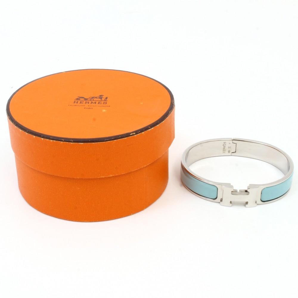 u4628 authentic hermes bracelet h clic clac bangle enamel skyblue silver box ebay. Black Bedroom Furniture Sets. Home Design Ideas