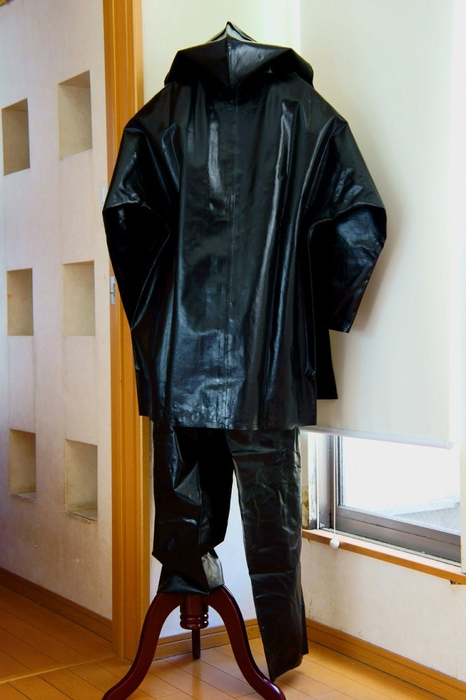 Vintage Shiny Wet Look Rubber Rain Raincoat Jacket And